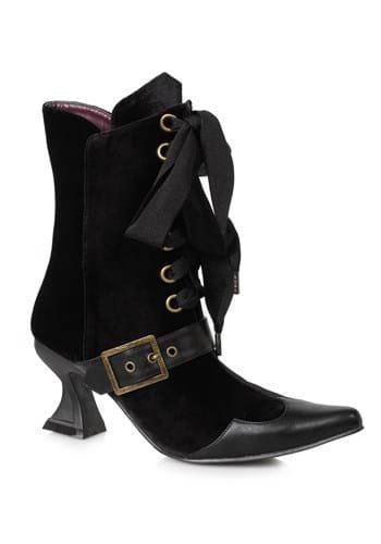 Womens Black Velvet Boots with Heel