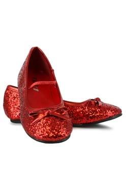 Girls Red Ruby Glitter Ballet Flat