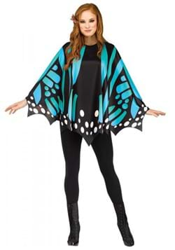 Womens Teal Butterfly Poncho