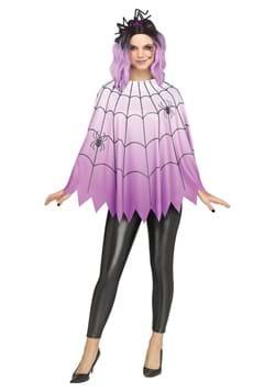 Womens Purple Ombre Spider Web Poncho