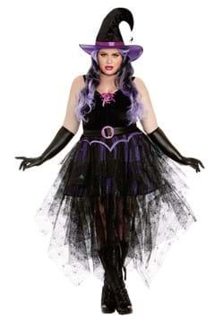 Womens Plus Sexy Purple Witch
