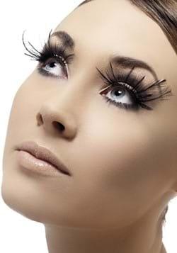 Black Feather Plume Eyelashes with Glue