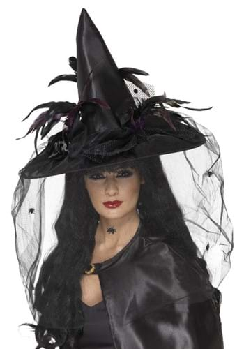 Feathers and Netting Black Witch Hat