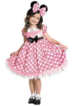 Minnie Mouse Girls Pink Glow in the Dark Dot Dress