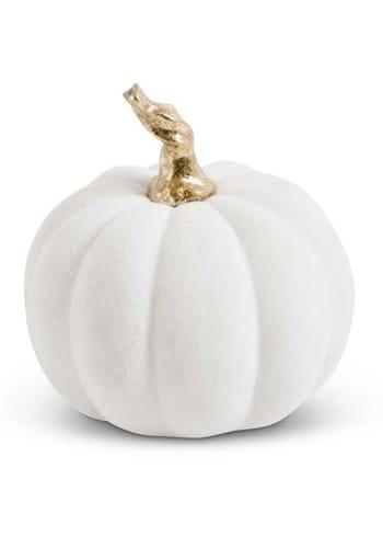 """3.5"""" White Velvet Pumpkin w/ Twisted Gold Stem"""