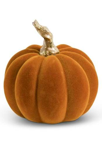 "3.5"" Orange Velvet Pumpkin w/Twisted Gold Stem"