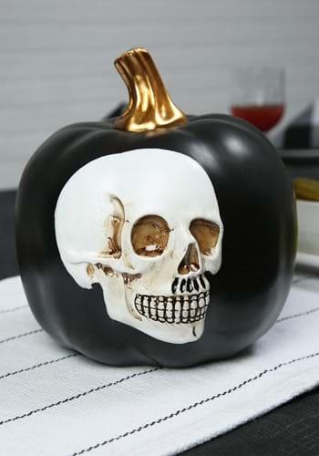 """8.5"""" Black Pumpkin with Embossed Skull"""