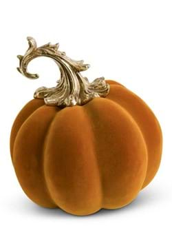 95 Orange Velvet Pumpkin with Gold Filigree Stem