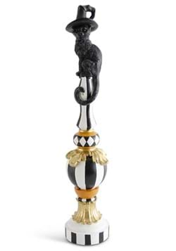 24 Inch Black, White and Orange Finial Decor with Cat