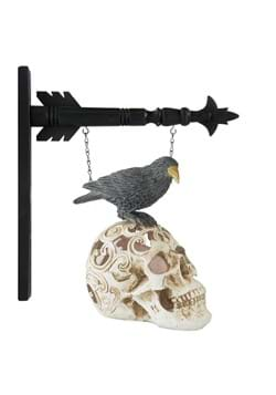 9 Inch LED Skull and Perched Crow Arrow Figure
