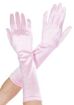 Pink Satin Gloves