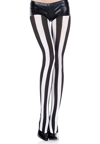 Black and White Striped Womens Tights