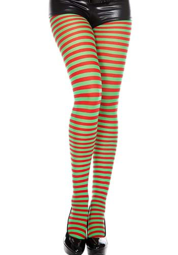 Red and Green Striped Tights