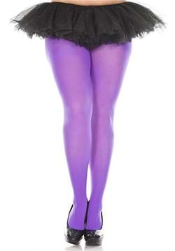 Womens Plus Size Solid Purple Tights