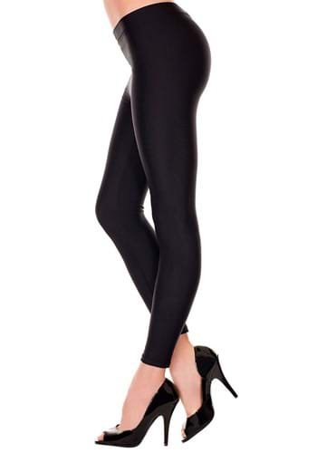 Womens Satin Black Leggings