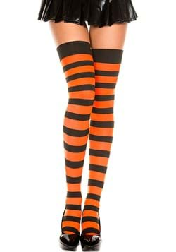 Black and Orange Striped Thigh Highs