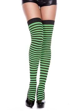 Black and Kelly Green Striped Thigh Highs for Women