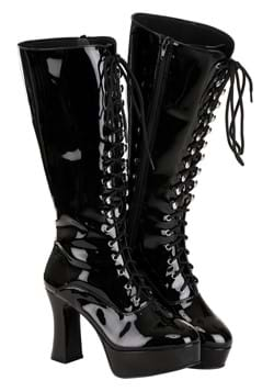 Women's Sexy Black Faux Leather Knee High Boots