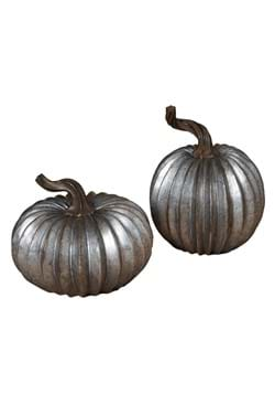 Set of 2 Resin 5 Galvanized Look Pumpkins