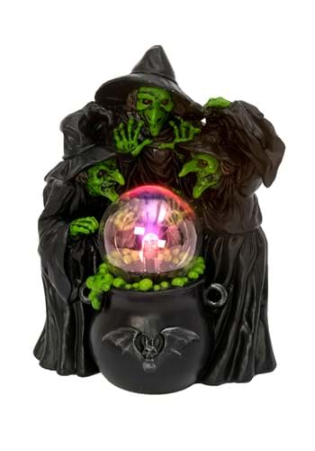 """10"""" Witches & Cauldron w/Static Lighted Magic Ball"""