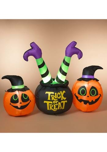 64 Inch Electric Lighted Inflatable Witch Pumpkins Decor