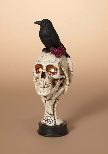 10 inch Lighted Skull with Crow