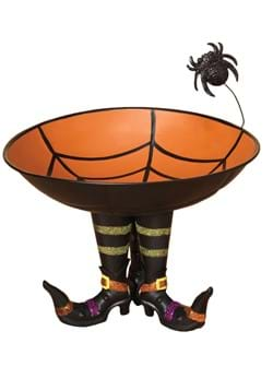 11 Inch Metal Candy Bowl on Witch Boots with Spider