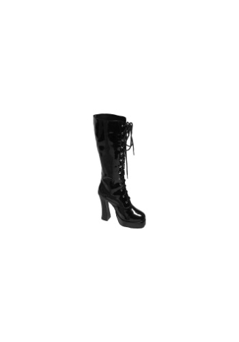 Sexy Black Faux Leather Knee High Boots