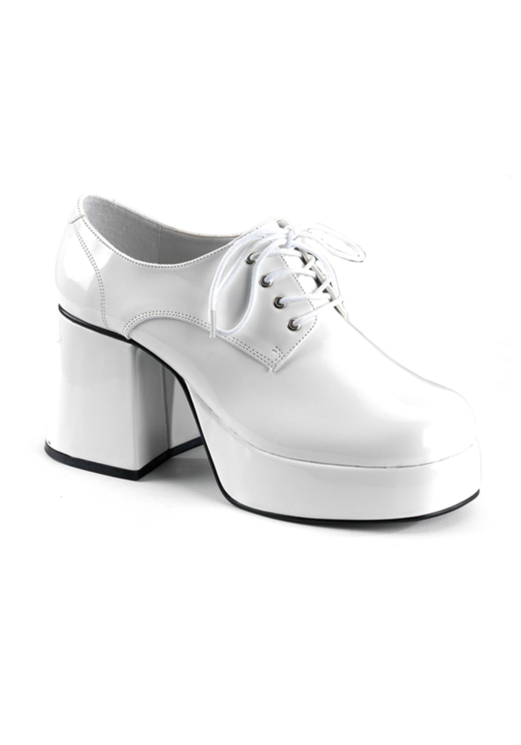 Mens White Platform Disco Shoes