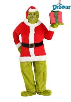 Dr. Seuss Adult Plus Grinch Santa Open Face Costume
