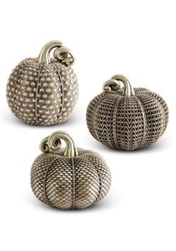 Set of 3 Resin Antique Gold Textured Pumpkins