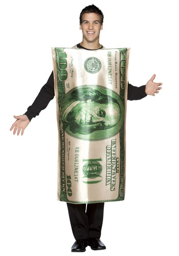 Click Here to buy 100 Dollar Bill Costume from HalloweenCostumes, CDN Funds