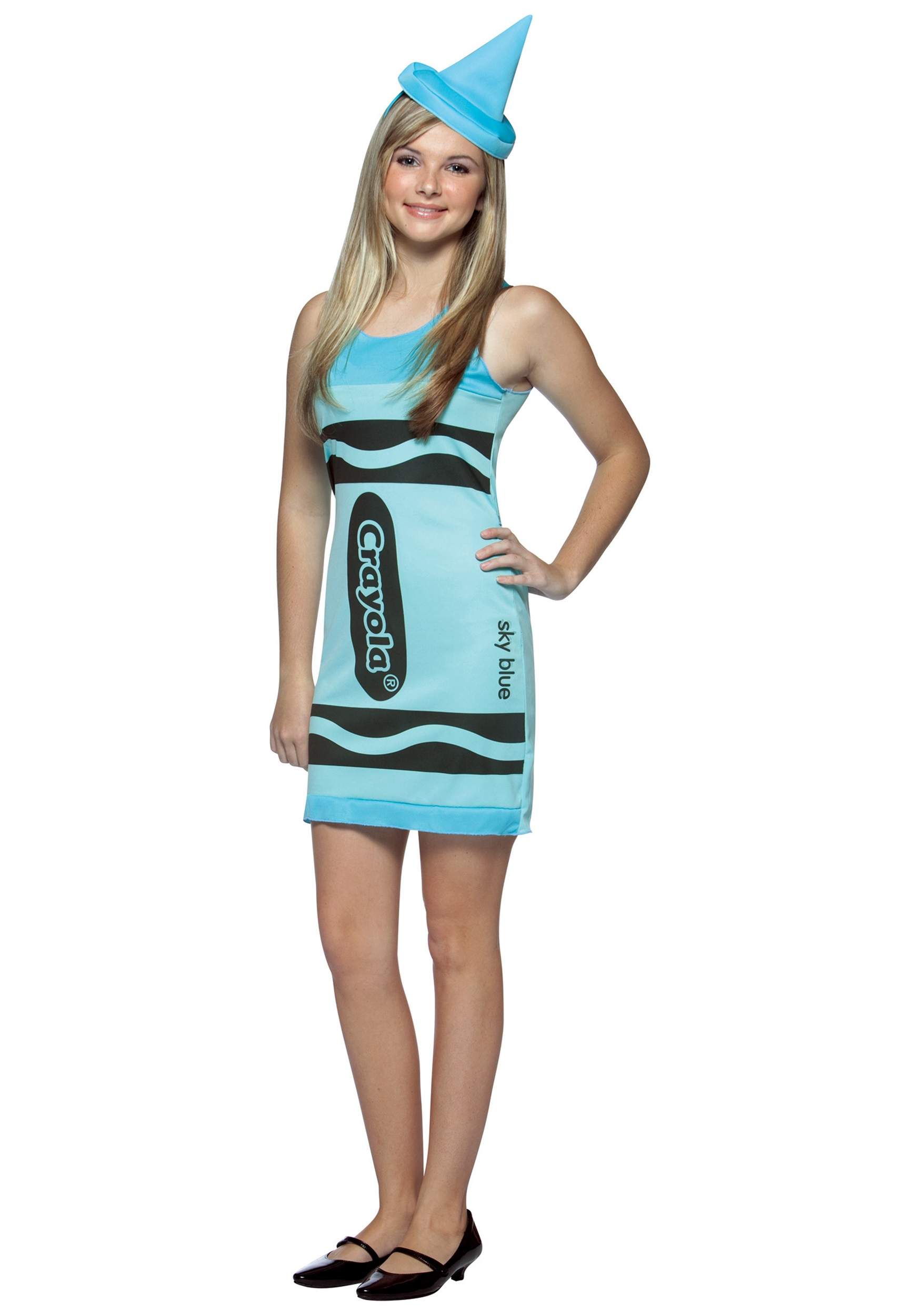 sc 1 st  Halloween Costumes & Teen Sky Blue Crayon Dress