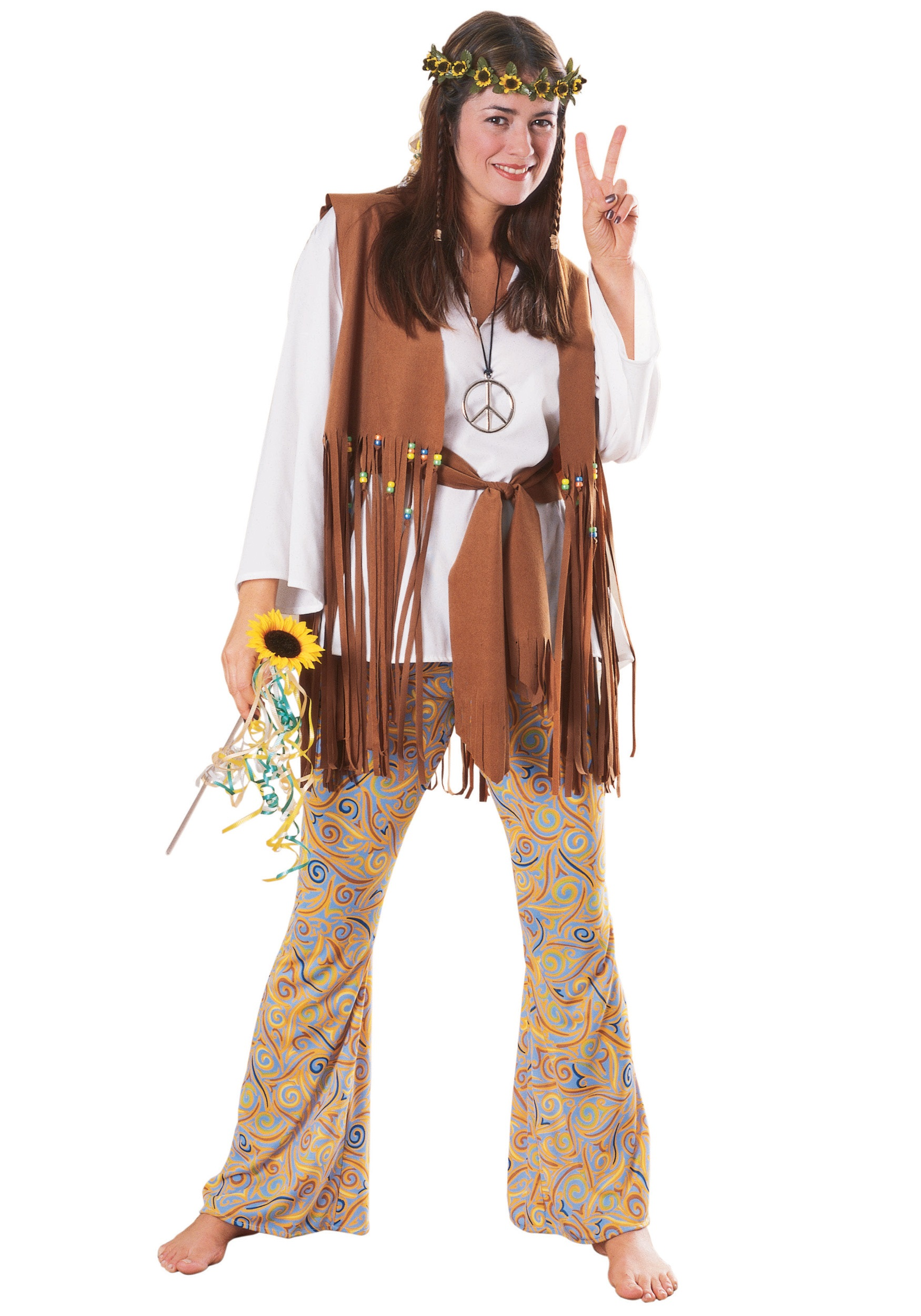 adult hippie love child costume female hippie halloween. Black Bedroom Furniture Sets. Home Design Ideas