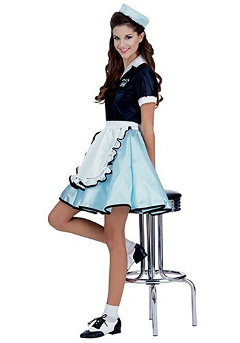 Womens Car Hop Girl Costume - 1950s Car Hop Girl Costume Ideas