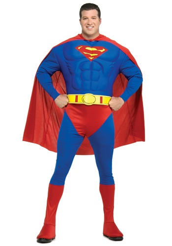 Click Here to buy Adult Superman Costume Plus Size - Superhero Halloween Costumes 1X from HalloweenCostumes, CDN Funds