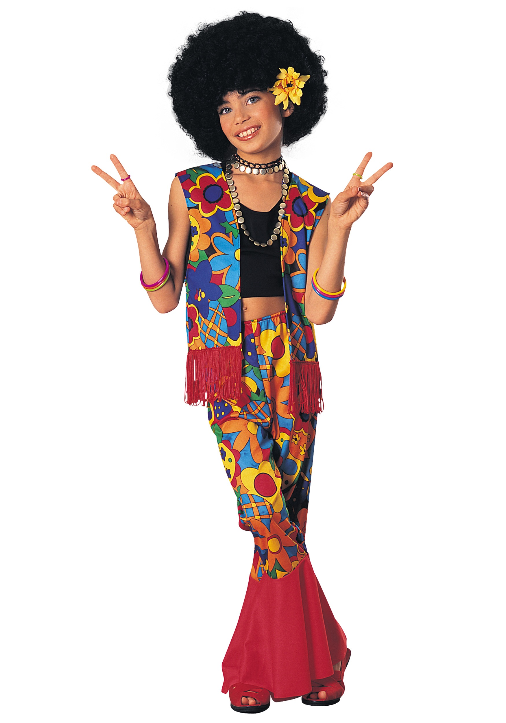 Hippie Girl Halloween Costume.Girls Flower Power Hippie Costume