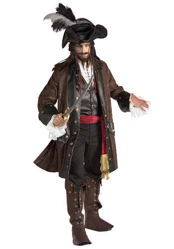 Authentic Caribbean Pirate Adult Size Costume - Deluxe Male Pirate Costumes