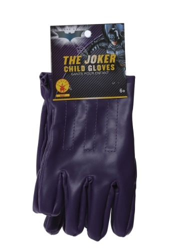 Child Joker Gloves Purple - Halloween Batman Movie Costume Accessory