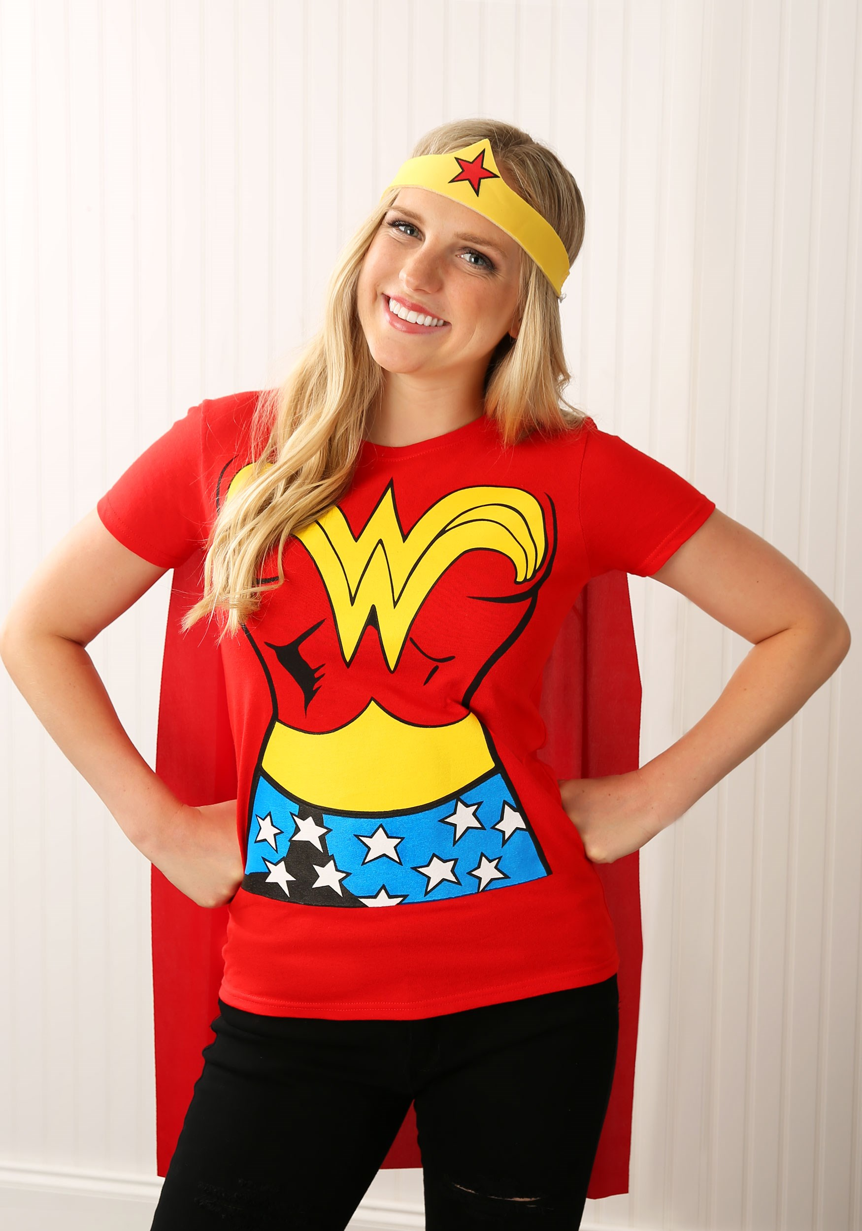 This Wonder Woman costume for adults includes a t-shirt, headband, and cape.