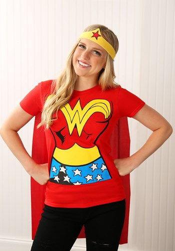Wonder Woman T-Shirt Costume With Cape