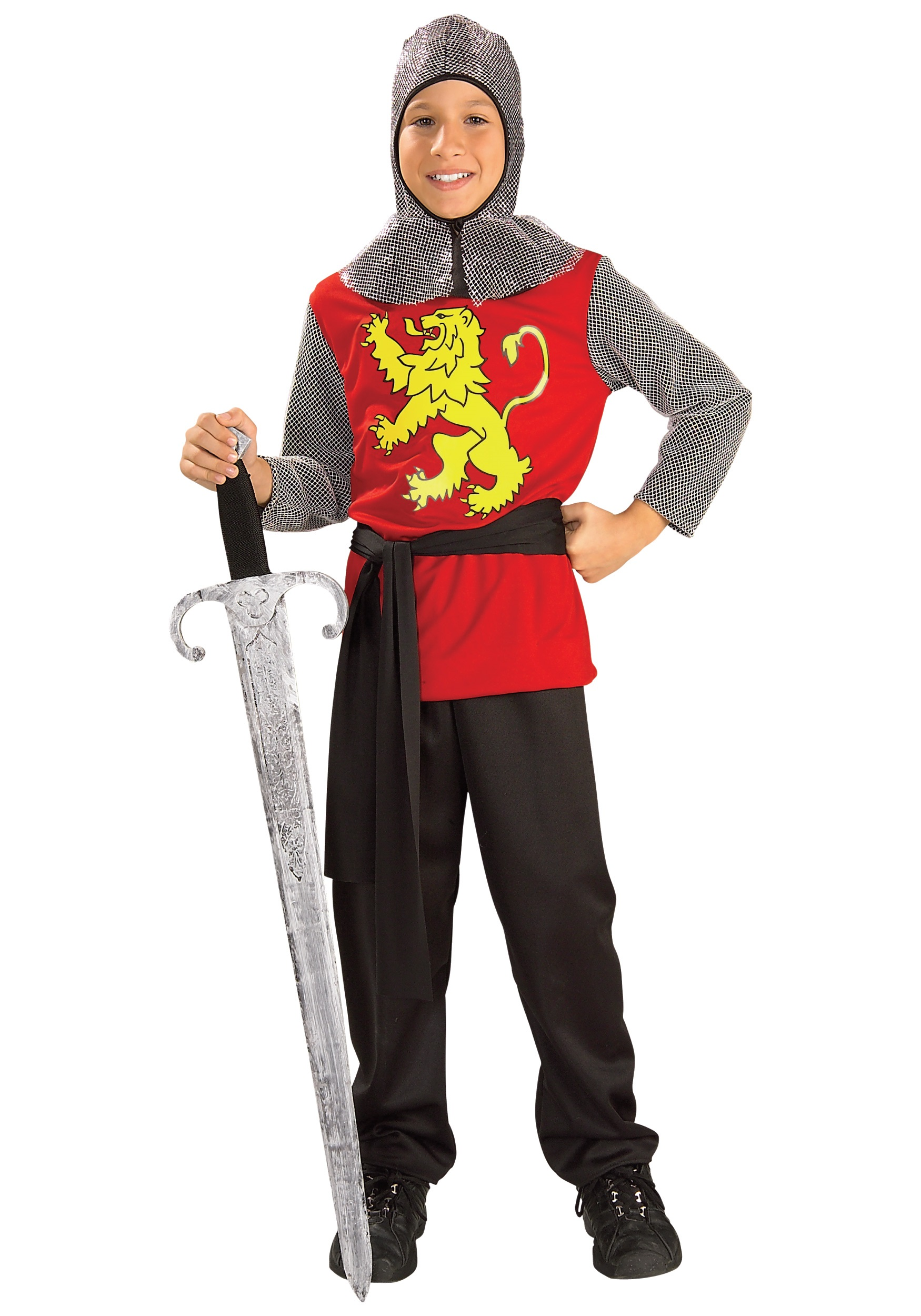 Medieval Knight Child Boys Costume Red interlock tunic has silver metallic mesh sleeves Yellow lion printed on the front Metallic mesh hood has cowl collar Black interlock waist sash