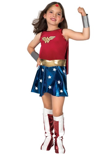 Child Wonder Woman Dress w/Cape Silver Gauntlets Head Piece Gold Belt Red and White Boot Tops