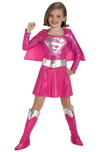 Click Here to buy Kids Pink Supergirl Costume from HalloweenCostumes, USA Funds & Shipping