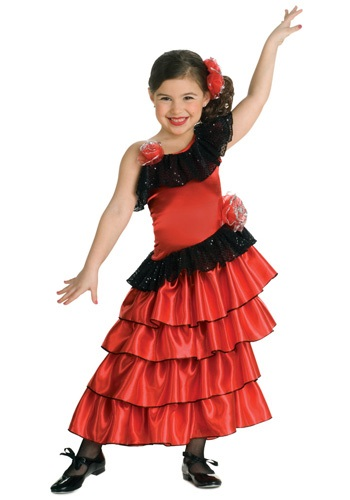 Girls Spanish Flamenco Dancer Costume (Girls Spanish Flamenco Dancer Costume)