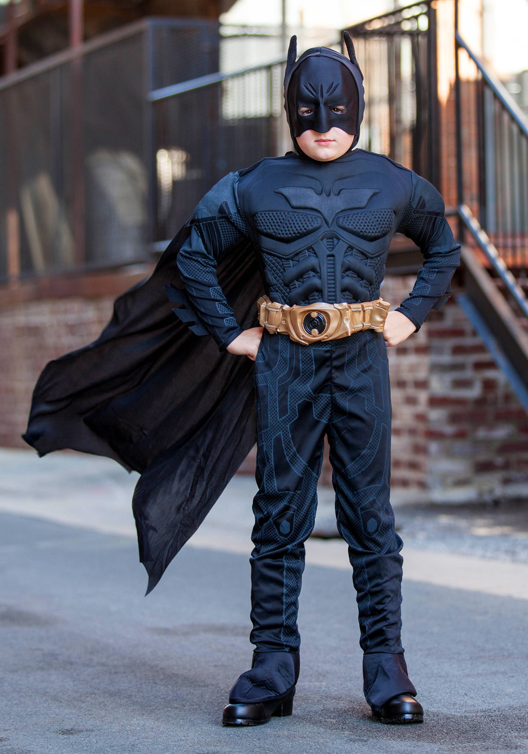 Accessorize your costume with an officially licensed Batman utility belt, Batarang, and gloves. Pick up an extra Batman mask or cape, especially sized for boys. We also carry a variety of boys Robin costumes, so you can team up with a friend.
