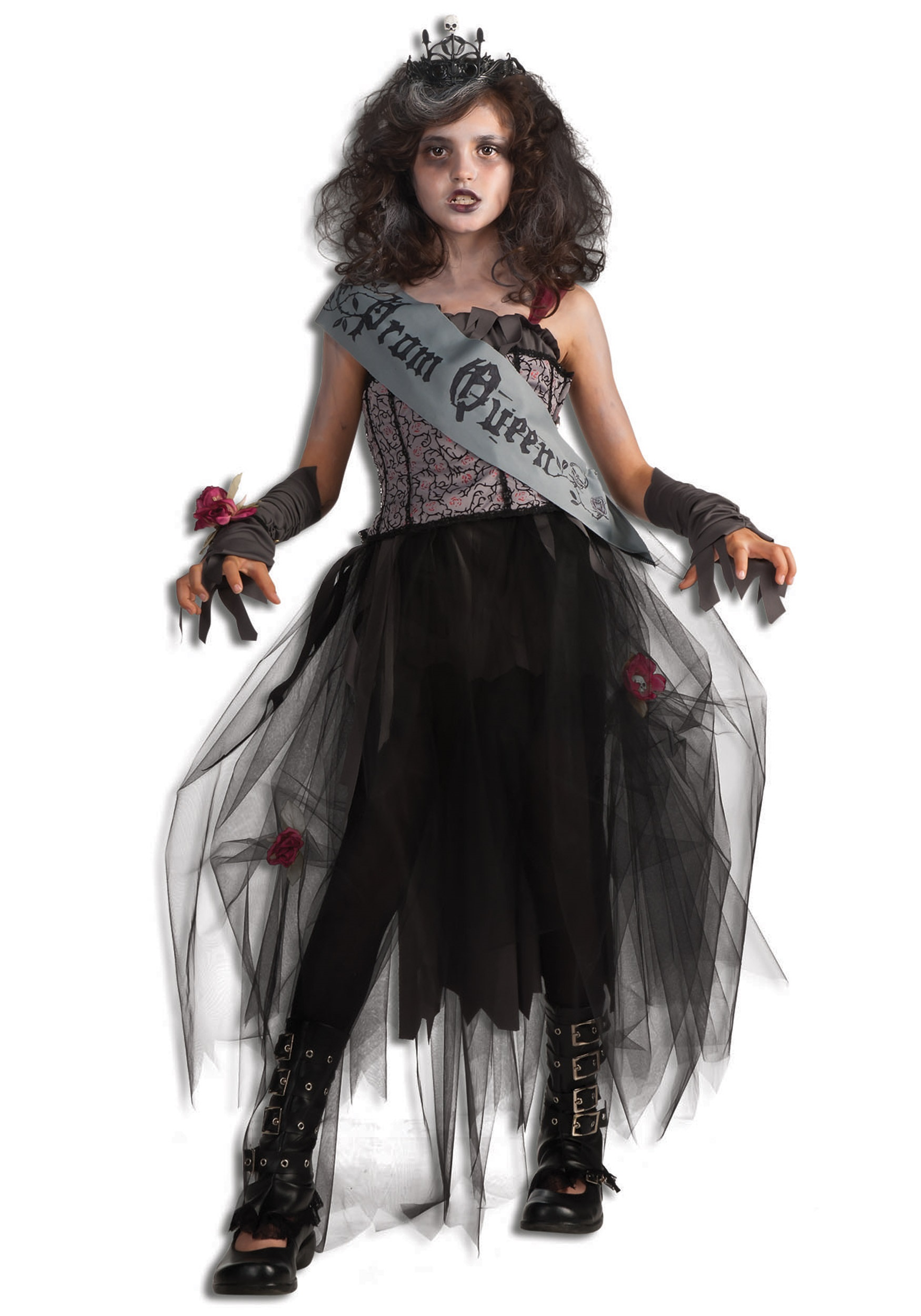 Girls goth prom queen costume for Cool halloween costumes for kids girls
