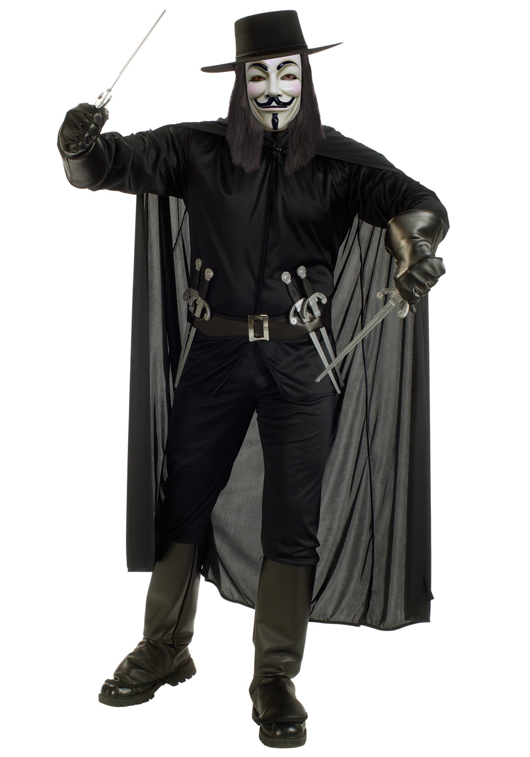 Adult V for Vendetta Costume Includes Shirt Pants w/ Boot Tops Belt w/6 Daggers Cape Mask Hat
