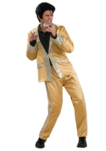 Deluxe Gold Satin Elvis Costume